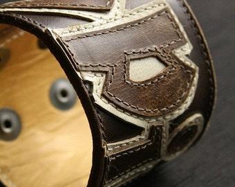"""Leather Bracelet, Leather Cuff:  Brown Leather Cuff """"Americana Spirit Cuff"""""""