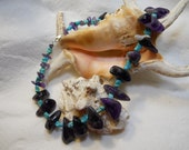 SALE-Amethyst, Turquoise and Sterling Silver Necklace