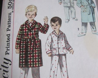 Simplicity 4250 Boys 1950s BathRobe and Pajamas Sewing Pattern with Transfer Size 1 Chest 20