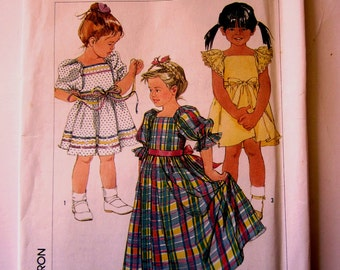 Simplicity 7430 Girls 80s Pullover Dress in Two Lengths Sewing Pattern Size 3 Breast 22