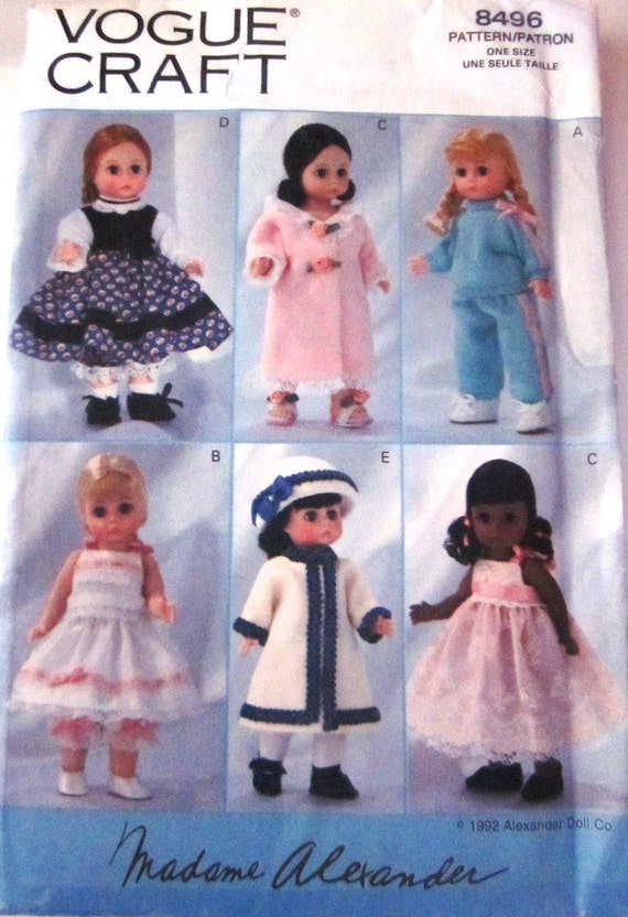 Vogue 8496 Madame Alexander Doll Clothes Pattern By