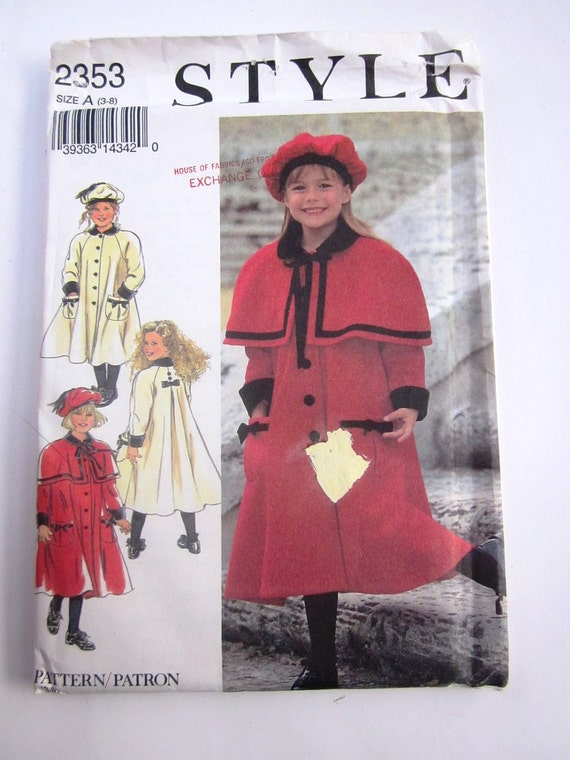 Style 2353 Girls Coat Cape Hat Sewing Pattern UNCUT
