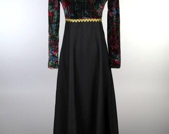 Black full length dress with multicolor dark print top