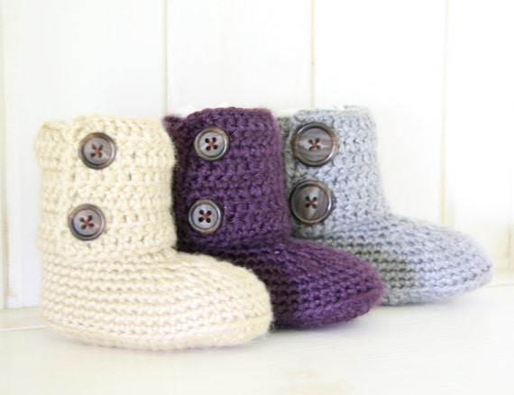 1 Pair of  Baby Ankle Booties (sizes 0-3, 3-6,6-9 and 9-12 mths.)