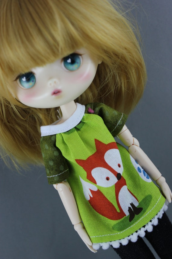 Jerry Berry Smock Style Top - Foxy Lady for Middie Blythe or Odeco