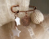 Pin jewelry, copper safety pin brooch with mother of pearl stars