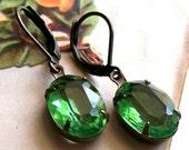 Estate style earrings - green