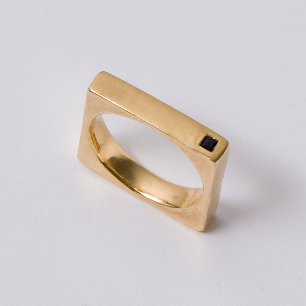 Square Ring Black Diamond Ring Gold Mens Band 14K Gold
