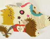 Hedgehog Meadow Iron or Sew On Fabric Applique Michael Miller Fabric