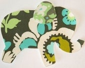 Deco Rose Iron or Sew On Fabric Elephant Applique Amy Butler Fabric