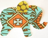 Elephant Applique Iron or Sew On Amy Butler Kashmir Fabric