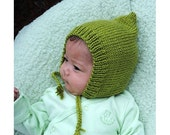 Leaf Green Pixie Baby Hat with Ties