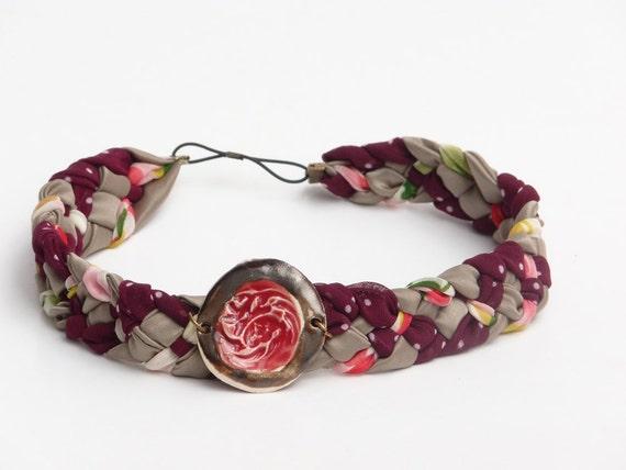 Bordo Grey fabric Braided Headband with Ceramic bead