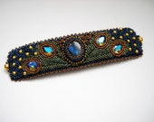 RESERVED for ATC 1st layaway - Peacock Bead Embroidery Bracelet Blue Green Bead Embroidered Labradorite Swarovski