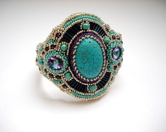 Girly Cuff - Bead Embroidery Bracelet Cuff with Turquoise