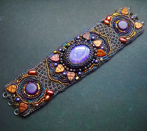 Spicy India - Bead Embroidered Bracelet Cuff with Purple Sugilite and Mexican Turquoise