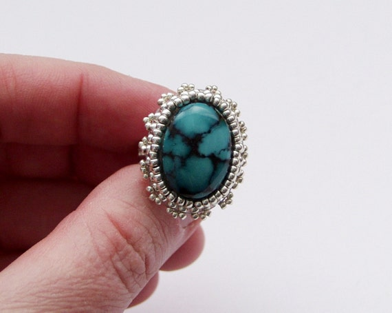 Greece -  Bead Embroidery Ring with Turquoise