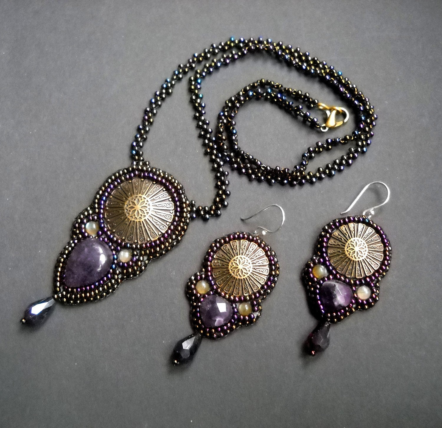 Embroidered Beads: Heather Moon Bead Embroidered Necklace And Earrings Set With