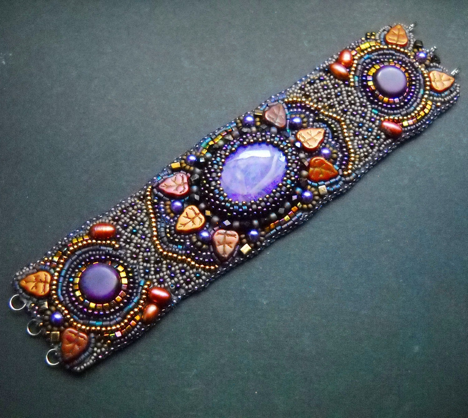 Spicy india bead embroidered bracelet cuff with purple