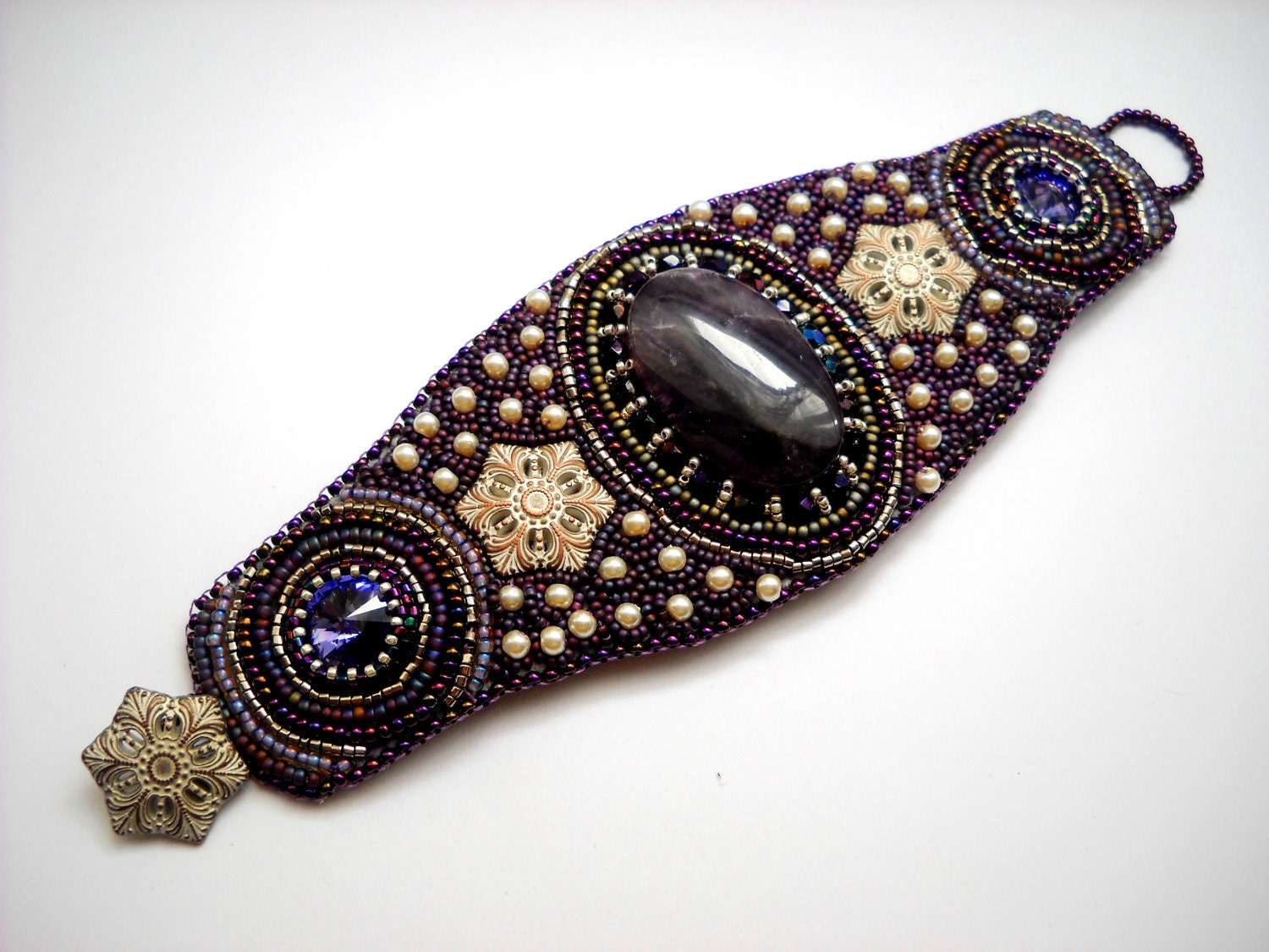 Reserved purple persuation bead embroidery bracelet cuff