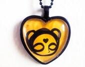 I like you Bear Heart Shaped Cameo Necklace