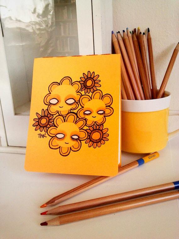 Daisy Face Hand Bound Mini Sketchbook