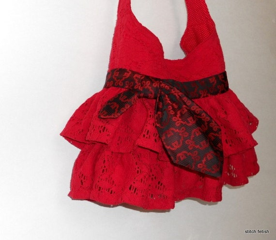 SALE Red Ruffle Purse, with vintage tie