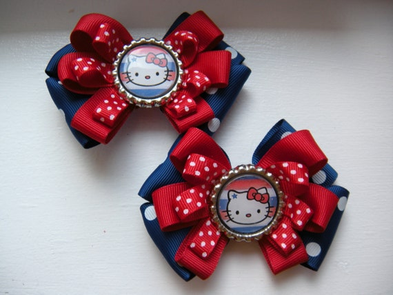 July 4th Hello Kitty Hairbow Pair Red White and Blue