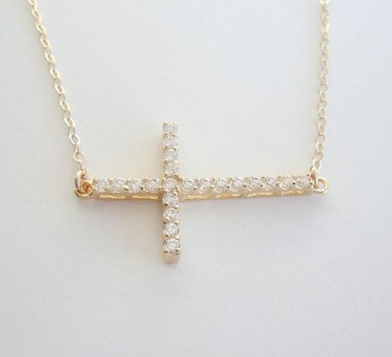 CZ Sideways Cross Necklace Vanessa Hudgen Style - Gold