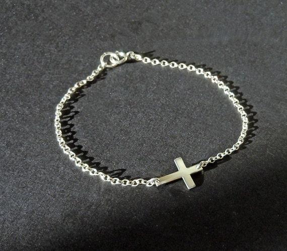 Sideways Cross Bracelet in Sterling Silver