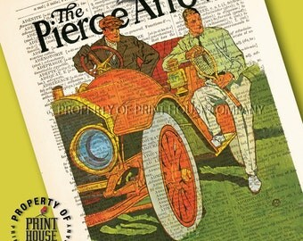 """Vintage car poster, dictionary art print, The Pierce Arrow, printed on a 6""""x9.5"""" antique 1852 French-English dictionary page"""