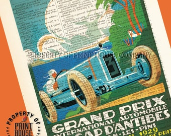 """Vintage car poster, dictionary art print, French Grand Prix, printed on a 6""""x9.5"""" antique 1852 French-English dictionary page"""