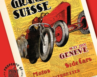 """Vintage car poster, dictionary art print, Grand Prix Suisse, printed on a 6""""x9.5"""" antique 1852 French-English dictionary page"""