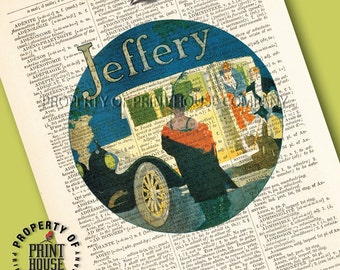 """Vintage car poster, Dictionary art print, Jeffery Sedan, printed on a 6""""x9.5"""" antique 1852 French-English dictionary page"""