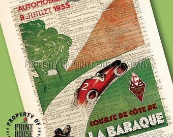 """Vintage car poster, dictionary art print, French Automobile Club poster, printed on a 6""""x9.5"""" antique 1852 French-English dictionary page"""