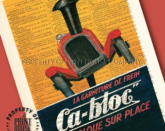 """Vintage car poster, dictionary art print, Ca-Bloc french auto poster, printed on a 6""""x9.5"""" antique 1852 French-English dictionary page"""