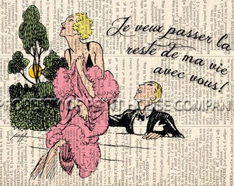 """Original art, vintage 20's style illustration """"Marriage Proposal"""" printed on an antique 1852 French-English dictionary page"""