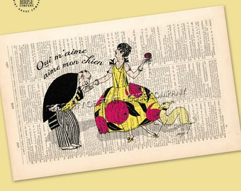 """Original art, vintage 20's style illustration """"Who loves me, loves my dog."""" printed on a 1852 French-English dictionary page"""