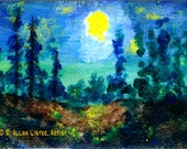 Moon over the Ravine - ACEO painting
