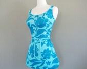vintage 1950s swimsuit - turquoise Hawaiian skirted bathing suit  / playsuit (L)