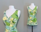 Reserved vintage 1960s Catalina swimsuit - chartreuse draped & skirted one piece bathing suit (L-XL)
