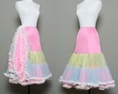 vintage petticoat crinoline fluffy chiffon - pink multi color tiers (M-L)