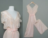 Reserved for Biddy1958 vintage 1930s Jean Harlow pink rayon nightgown-jumper / romper / pajamas (M-L) by Nanette Undees