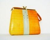 1960s vintage handbag / faux croc mustard ombre purse / corset lace-up  /