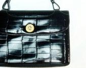 1960s 60s vintage handbag / black patent purse / kelly bag / Rosart designer