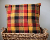 """Plaid Pillow 20x20 (red, yellow, black) """"Campfire"""""""