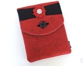 "iPad Case, iPad Cover, iPad Sleeve - ""Jackie-O"" (red and black flower)"