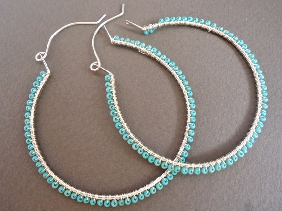 Sterling Silver Large Hoop Earrings Turquoise Beads Gifts Under 30 Dollars