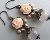 Flower dangle earrings,drop earrings,beadwork cluster chandelier,pink rose polymer clay,statement gemstone earrings, pearls rose quartz