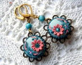 Baby Blue pink, Flower dangle, drop earrings, button polymer clay,embroidered statement eco friendly jewellry, bronze filigree Water lily